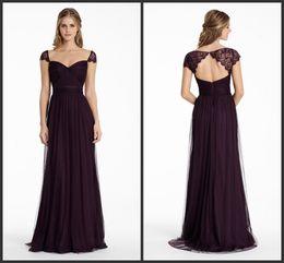 Wholesale English Netting - Bridesmaids Dresses 2015 Plum English Net A Line Long Sweetheart Neckline Formal Party Dress Lace Cap Sleeve ML JH5555 Keyhole Zipper Back