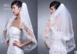 Wholesale Embroidery Fingertip Length - Elegant White Wedding Bridal Veil 2T for Wedding Dress Embroidery Edge New
