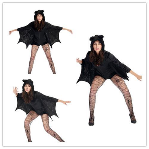 compre ropa de rendimiento disfraces de halloween para mujeres catsuit latex mini vestidos sexy alas de murcilago vampiro traje adulto halloween negro cabo