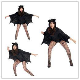 2019 fantasia de vampiro adulto de halloween Desgaste do desempenho Trajes de Halloween Para As Mulheres Catsuit Látex Mini Vestidos Sexy Vampiro Bat Asas Traje Adulto Halloween Black Cape Senhoras fantasia de vampiro adulto de halloween barato