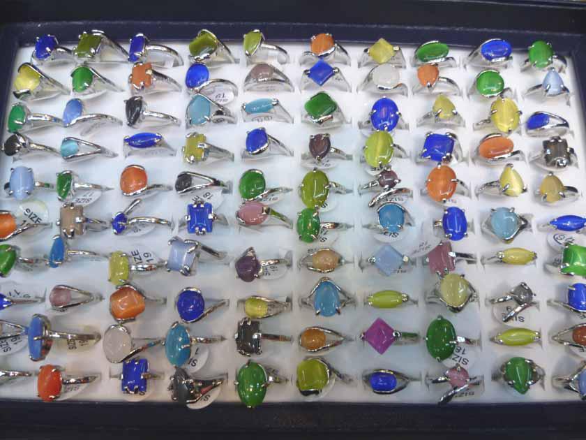 Wholesale mixed 100 cat eye gemstone silver p Rings