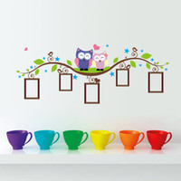 Wholesale Tree Branch Wall Decals Removable - Cute Owls onTree Branch Wall Art Sticker Decor Decal Heart Star Birds around Tree Nature View Mural Sticker Wall Picture Decoration Graphic