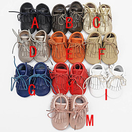 Wholesale Girls Ankle Boots Fringe - baby moccasins tassels boot  booties moccs infant girl boy lace leather shoes prewalker booties toddlers shoes