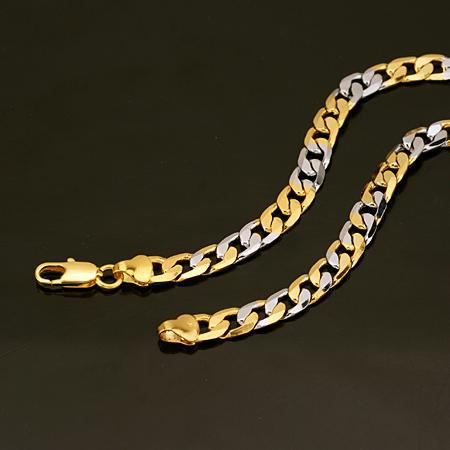 Men's Jewelry 18kGP yellow white gold necklace top flat Chain Link mens necklace chains party chains