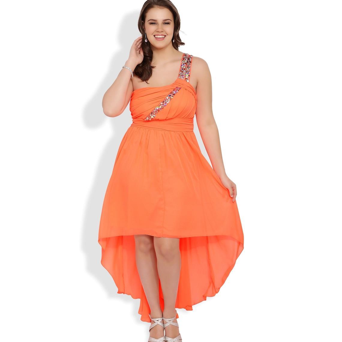 Großhandel Orange Asymmetrische Plus Size Special Anlass Kleider ...
