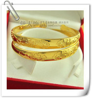 Wholesale Womens Solid Gold Bangles - Wholesale - womens solid 18K Yellow Gold GP bangles bangle woman fine Bracelet chains with chinese