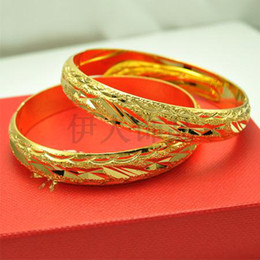 Wholesale Ladies Solid Gold Bracelets - Wholesale - brand new womens solid 18K Yellow Gold GP bangles bangle Lady nice Bracelet chains b