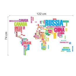 Arts World Canada - Colorful World Map Wall Art Mural Poster Sticker Decor Lettering Wall Quote Decal Sticker DIY Living Room Bedroom Wall Decoration Decal