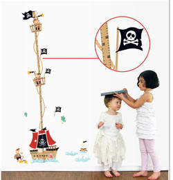 Wholesale Decor Stickers Pirates - Pirate Boat Wall Art Mural Poster Decal Kids Room Nursery Wall Decal Decor Classic Pirate Boat Wall Decoration Decal Sticker
