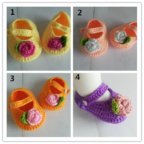 2015 Crochet baby flower shoes handmade infant booties toddler shoes 0-12M cotton