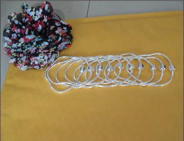 925 argent 3mm breloques chaîne serpent bracelet fit perles 8.5inch, ajustement cadeau XMAS