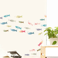Wholesale Personalized Kids Cups - Colorful Fish Art Mural Sticker Decor Bathroom Kitchen Cup Laptop Decoration Personalized Decal Sticker DIY Art Home Decal Poster