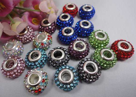 European style 925 Silver Colourful Crystal Murano Beads fit charms Bracelets BCB005,can mix colour