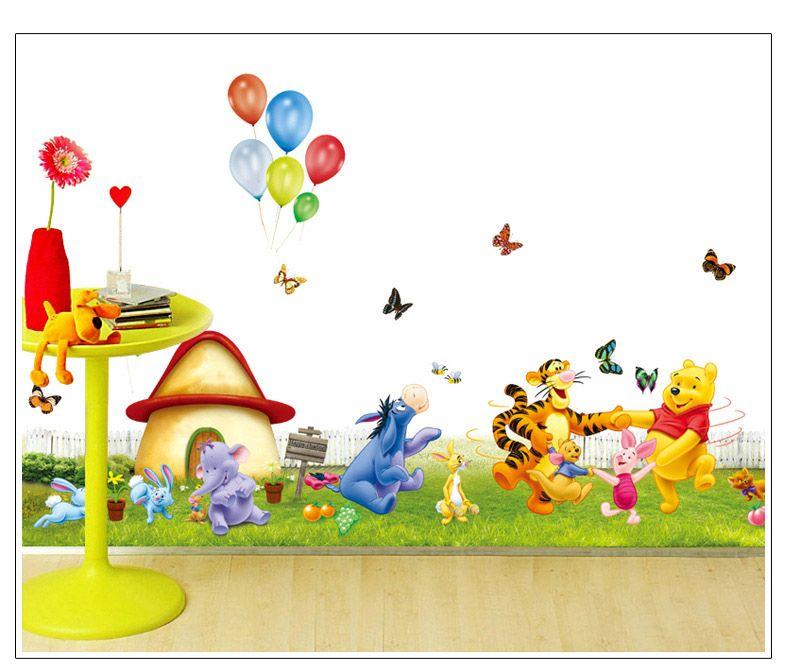 Winnie The Pooh Giant Wall Stickers Part   45: Cartoon Animals Mushroom  House Wall Art Part 87