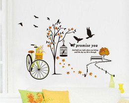 Wholesale classic movies wallpaper - Peaceful Road Wall Art Quote Decal Sticker Black Tree Flowers Bicycle Birds &Birdcage Mural Wallpaper Decoration Romantic Home Art Decal