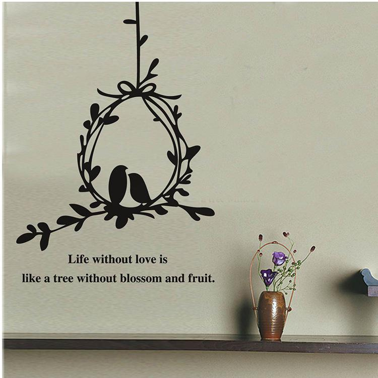 Love Wall Art Stickers Part - 17: Tree Vines Birdcage Wall Art Mural Decal Sticker Wall Quote Decoration  Poster Life Without Love Is Like A Tree Without Blossom And Fruit Tree Wall  Mural ...