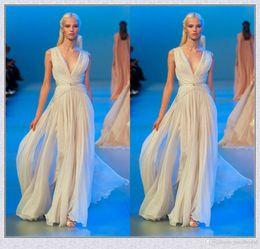 Wholesale Goddess Style Prom Dresses - Custom Made Deep V Neck Grecian Goddess Style Elie Saab Dresses Long Formal Evening Gown 2016 Elegant Prom Party Dress