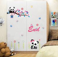 Wholesale Mix Order Kids Wall Stickers - Cartoon Cute Panda and Bamboo Wall Art Mural Poster Sticker Home Decoration Decal Kids Room Living Room Art Decor Mix Order Different Pandas