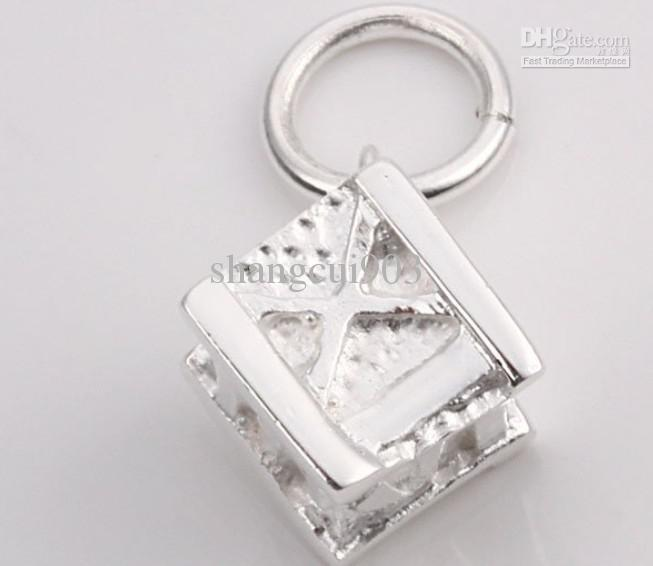 Fashion jewelry 925 Silver Necklace pendants Double hearts fit charms necklace JOS022