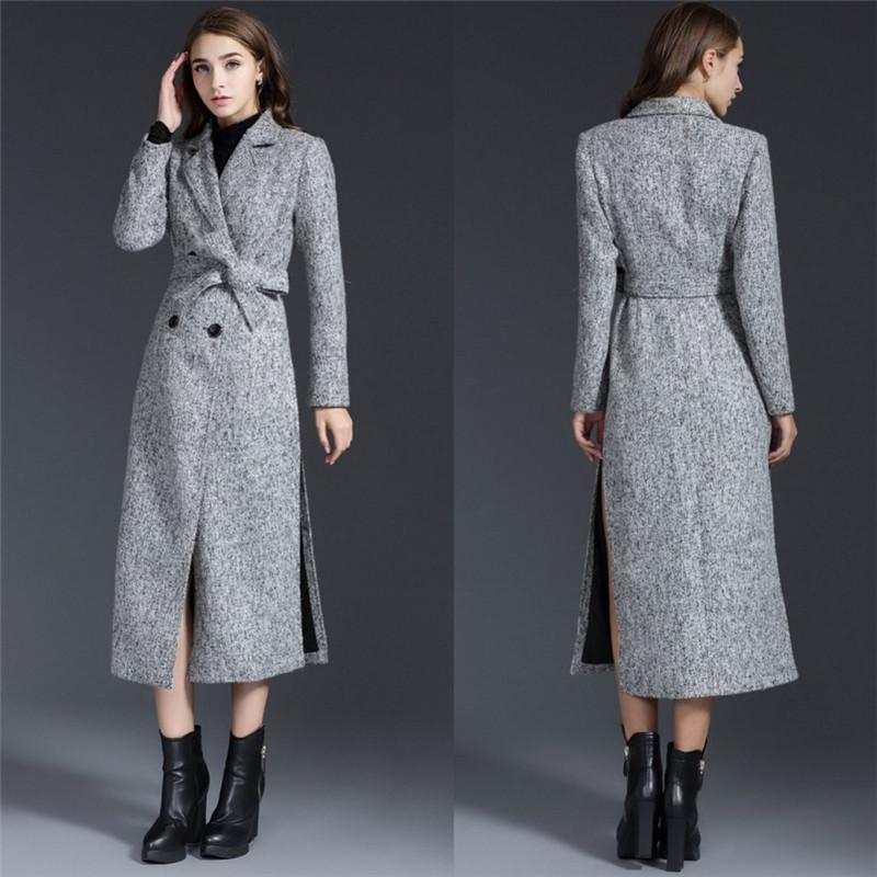 2017 Long Wool Coats For Women Polo Neckline Side Split Long ...