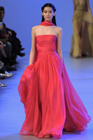 Wholesale Elie Saab Dresses For Sale - 2016 Strapless A Line Floor Length Red Elie Saab Evening Dresses For Sale High Quality Chiffon Pleated Formal Party Gowns