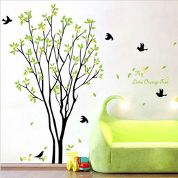 stick trees for walls NZ - My Lime Orange Tree Wall Art Mural Wall Decal Sticker Green Tree with Fruits Wallpaper Decal Sticker Living Room Bedroom Art Decor Poster