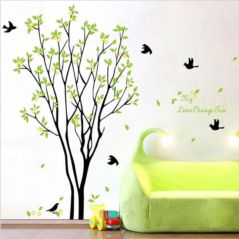 My Lime Orange Tree Wall Art Mural Wall Decal Sticker Green Tree With  Fruits Wallpaper Decal Sticker Living Room Bedroom Art Decor Poster Sticker  Wall ...