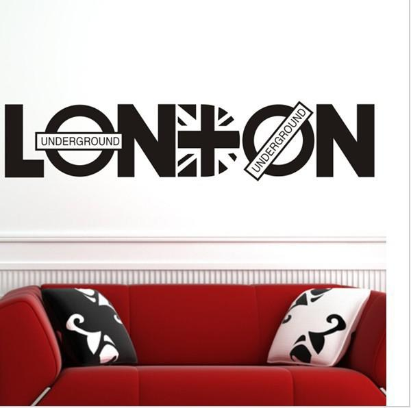 English Letter London Wall Art Decal Sticker Quote Decor Poster Living Room Bedroom Home Decoration Wallpaper Tree Mural