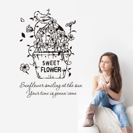 Wholesale Cartoon Sunflower Wall Decal - Sweet Flowers Wall Art Quote Decal Sticker Living Room Bedroom Mural Wallpaper Decor Poster--Sunflowers is smiling at the sun Quote Decal