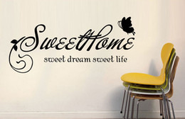 Bathroom Wall Sticker Quotes Canada - Sweet Home Sweet Dream Sweet Life Wall Quote Decal Sticker Black Flowers Rattan Butterflies Home Art Mural Poster Wallpaper Decor