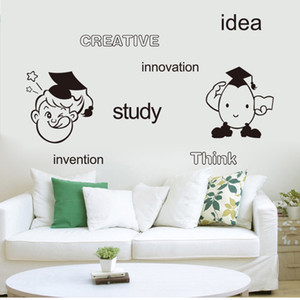 ingrosso idee di decorazione da parete-Idea creativa Studio Innovazione Think Invention English Words Wall Art Mural Decor Cartone animato Ragazzi Camera Wall Sticker Decal Sticker