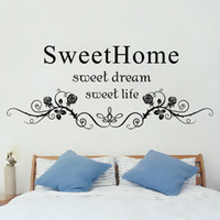 Preto Flores Rattan Wall Art Mural Cabeceira decoração etiqueta Sweet Home Sweet Dream Sweet Life English Words parede Citar Decal Poster