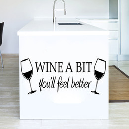 Wholesale Wine Glass Packaging - Wine A Bit You will Feel Better Wall Quote Decal Sticker Two Wine Glasses Wall Art Mural Poster Decor Kitchen Wallpaper Graphic
