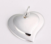 Fashion jewelry 925 Silver Necklace pendants Double hearts f...
