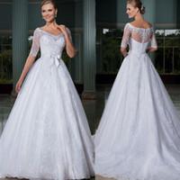 Wholesale Princess Bow Belt - vestido de novia wedding dresses Lace sexy half-sleeve hot sale zipper bow belt trailing princess wedding dress