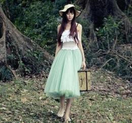 Wholesale Dress Korea Long Skirt - Summer Korea Style Women Long Tutu Tulle Veil Skirt Five Color Knee Length Ball Gown Skirts Sweet Party Skirt For Big Girls Wear