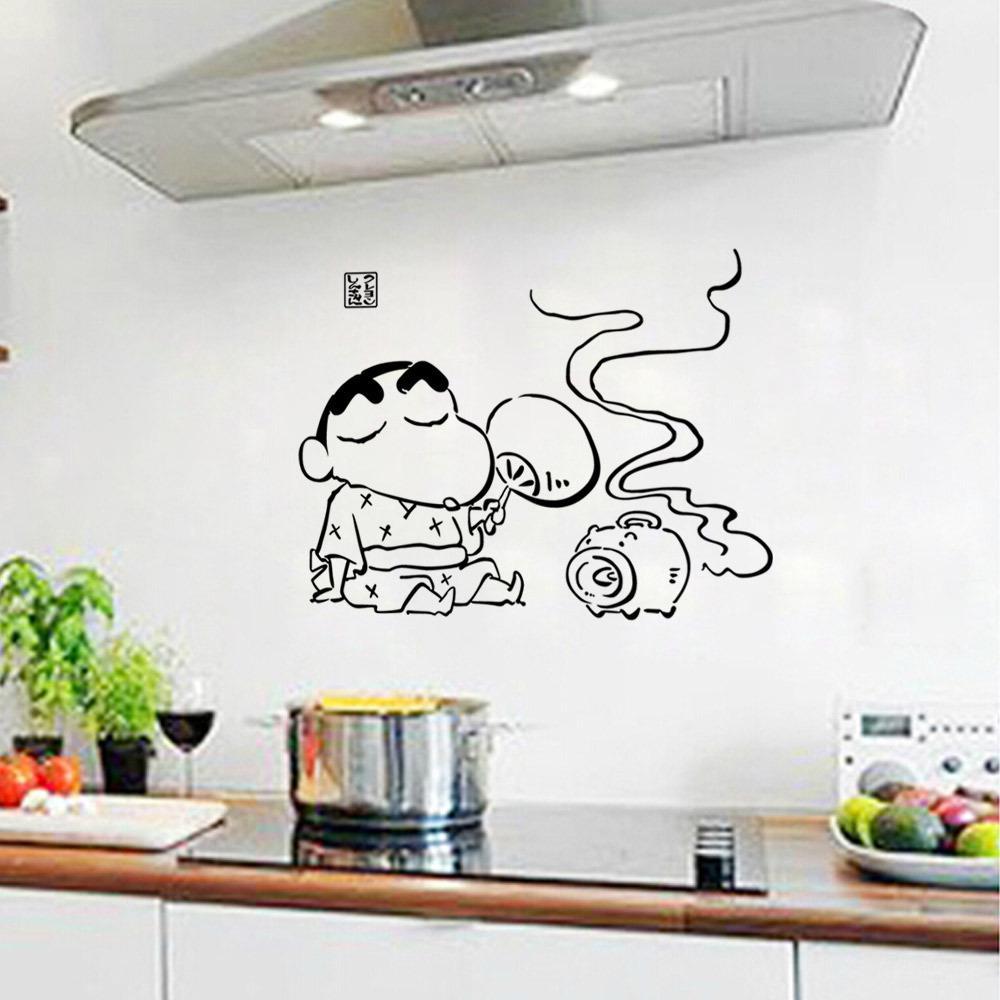 Compre Cocina Creativa De Dibujos Animados Art Mural Poster Decor Decoración Del Gabinete De Azulejos De Pared Etiqueta Engomada De La Pared De Moda