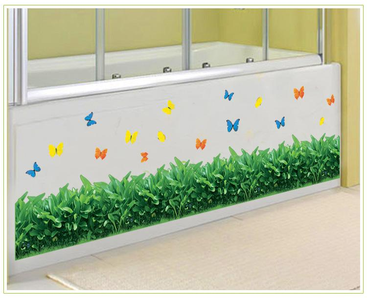 Green Grass Wall Border Decal Sticker Kitchen Wash Room Living Room Window  Glass Decoration Wallpaper Decor Poster Butterfly Art Decal Wall Art Decals  Trees ... Part 42