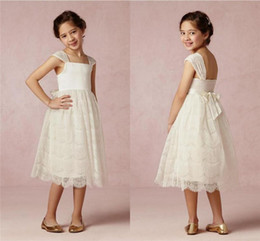 White Vintage Lace Flower Girls Dresses 2015 A Line Bow Simple Cheap Pageant Wedding Birthday For Kids