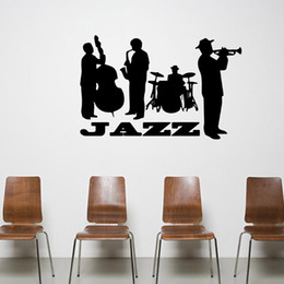 Chinese Wholesale Musical Instruments Canada - Jazz Concert Art Mural Decor Sticker Jazz Lover Home Decoration Wallpaper Decoration Decal Musical Instrument Jazz Graphic Poster