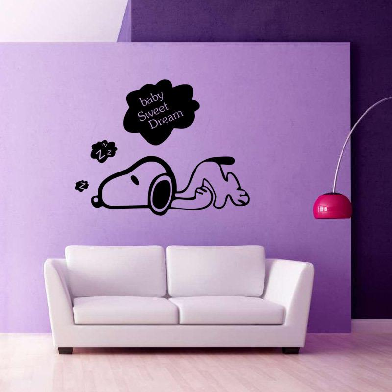 Baby Sweet Dream Cute Dog Art Mural Decor Sticker Home Decoration Wallpaper Poster Kids Room Wall Quote Decal