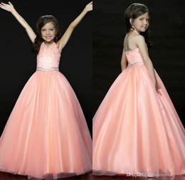 Wholesale Long Pageant Gowns Size 3t - Halter Plus Size Girls Pageant Dresses Size Sleeveless Beaded Tulle A Line Long Party Gowns Flower Girls Dresses Floor Length