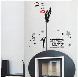 Wholesale Sexy Girl Posters - Sexy Girl Singing Musical Note Wall Art Decal Sticker DIY Home Decoration Decal All That Jazz Concert Wall Quote Decor Poster