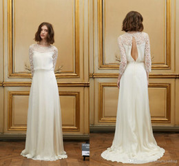 Wholesale Grand Gowns - Vestido De Noiva Grand 2015 Sheer Scoop A Line Wedding Dresses Illusion Lace Backless Court Train New Bridal Gowns 2016 By Delphine Manivet