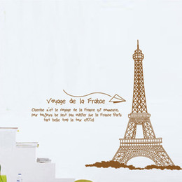 Wholesale Eiffel Wall Decor - Eiffel Tower Wall Quote Decal Sticker Home Decoration Wallpaper Art Mural Decor Living Room Bedroom Painting Paper Sticker