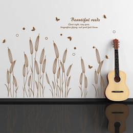 Wholesale Country Quotes - Abstract Beautiful Reed Wall Art Mural Decor Fashion Home Decoration Wallpaper Poster Sticker Beautiful Reeds Wall Quote Decal Decor