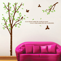 cita la naturaleza al por mayor-Green Tree Wall Art Mural Decor Aves en el bosque Nature View Wallpaper Decal Poster El amor no hace que el mundo vaya redondo Vinilo de pared Calcomanía