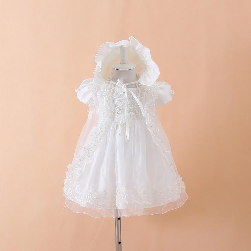 Vestidos de fiesta de bautizo para niñas bebés + Sombrero + Vestidos Infantis Princesa Wedding Party Lace Dress para el recién nacido Bautismo 3PCS