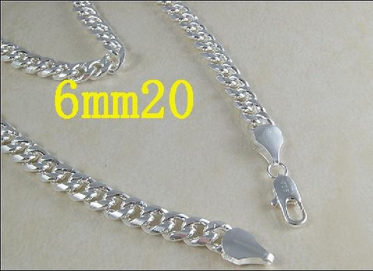 Ny anlände 925 Silver Mäns Curb Chain Necklace 6mm 20inch / 51cm