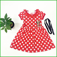 Wholesale Cheap Minnie Mouse - Mickey Mouse lovely girls dress belt style white dot print children girls vestidos minnie mouse cartoon printed short sleeve cheap price